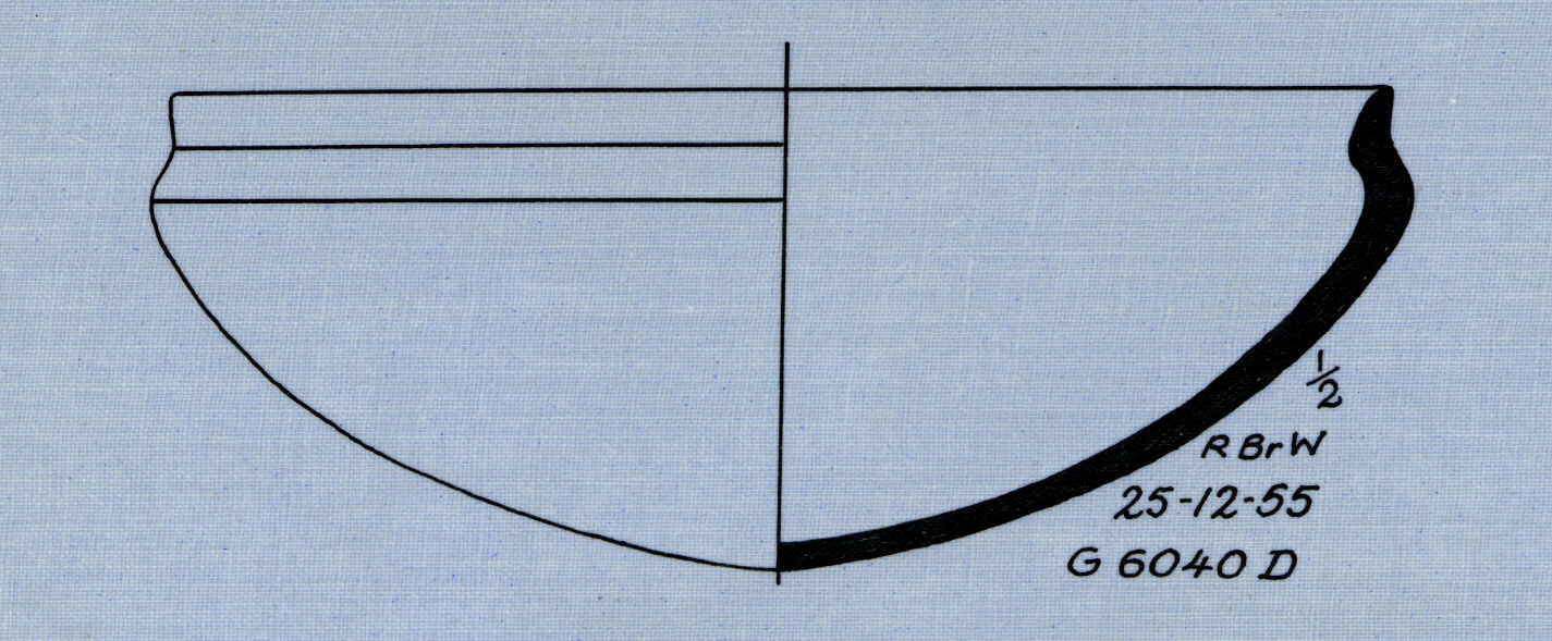Drawings: G 6044, Shaft D: pottery, bowl with recurved rim
