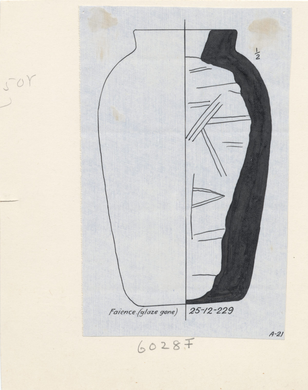 Drawings: G 6028, Shaft F: jar, faience