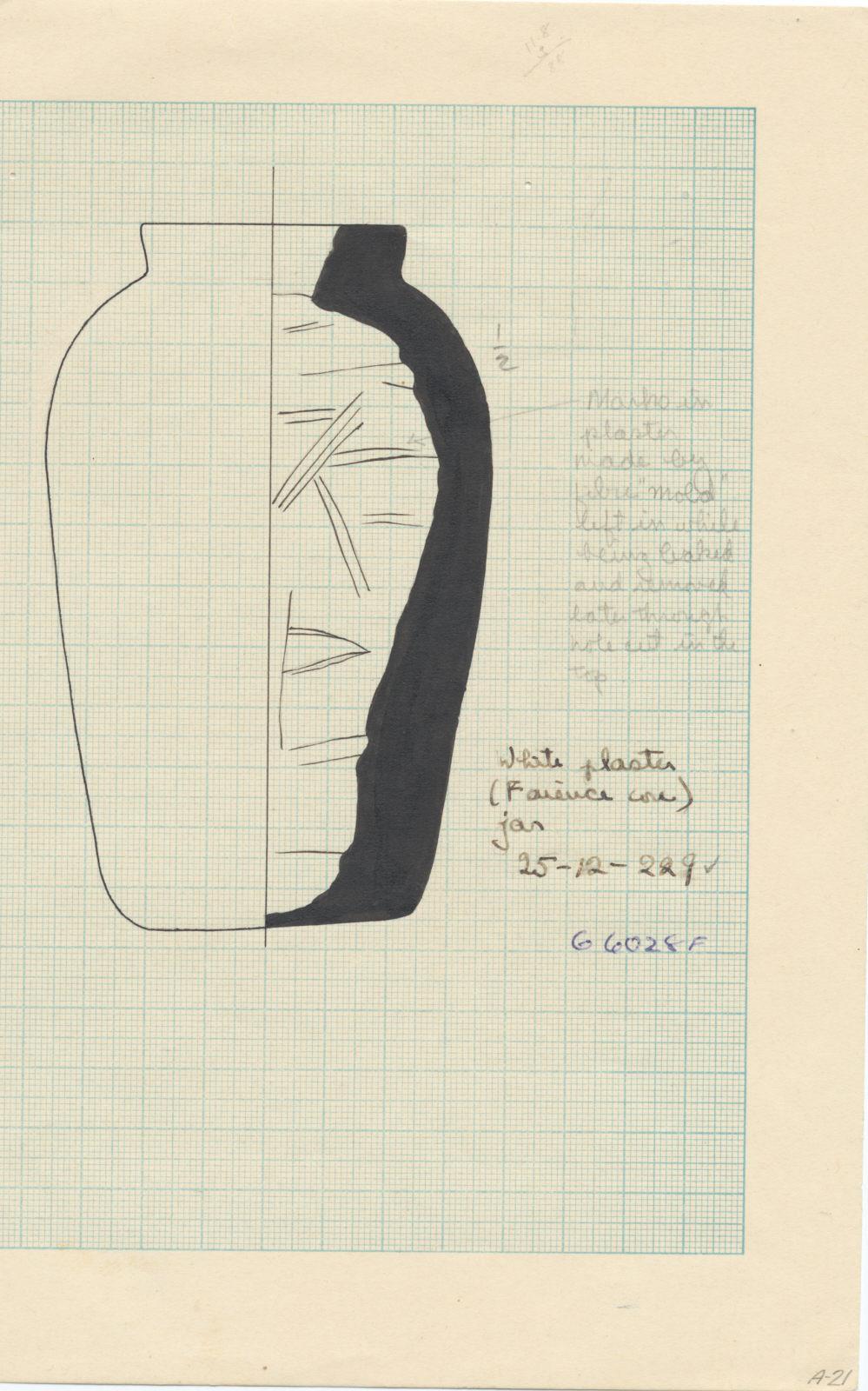 Drawings: G 6028, Shaft F: jar, faience