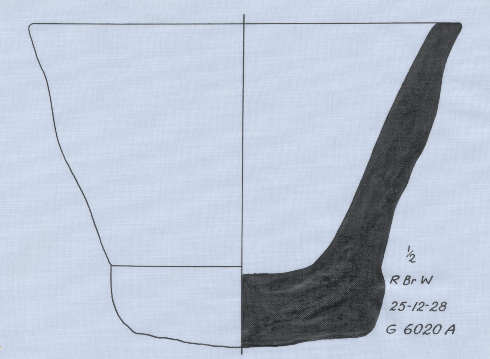 Drawings: G 6020, Shaft A: pottery, bread mold