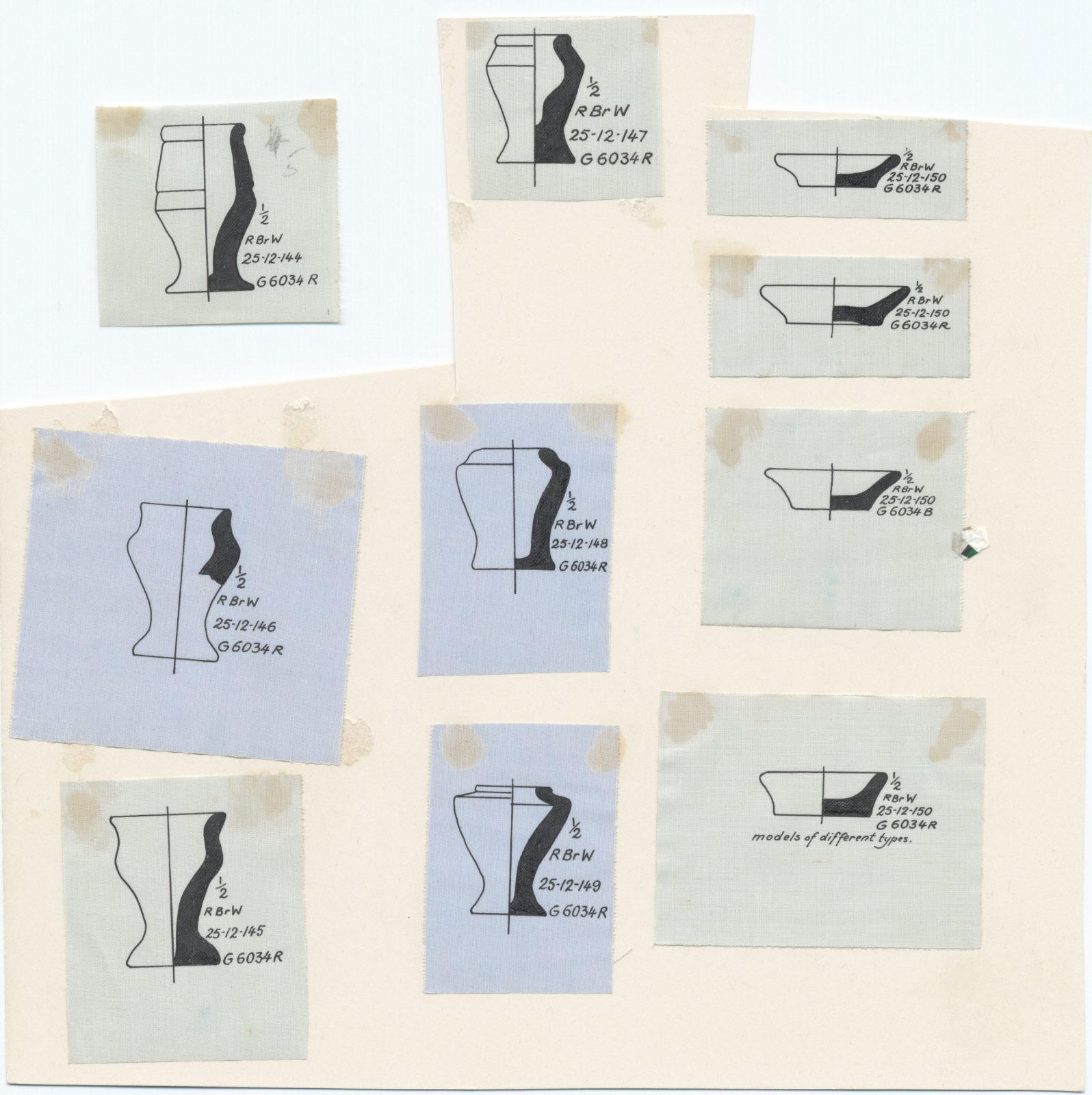 Drawings: G 6034, Shaft R: pottery, model vessels