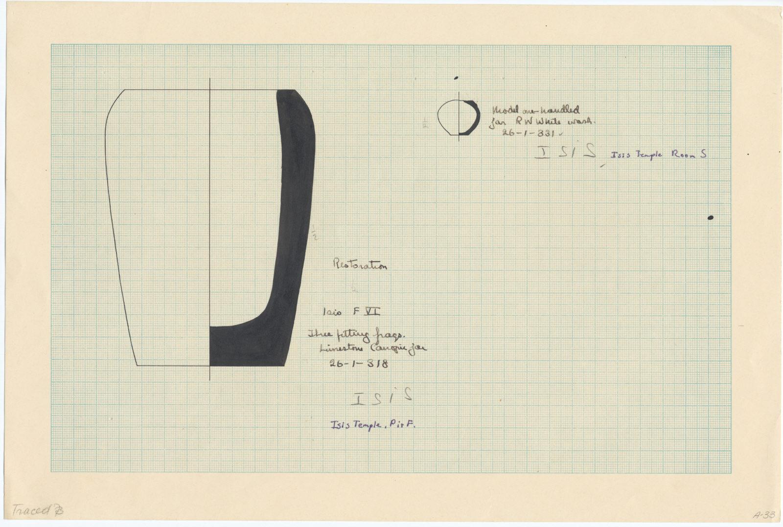 Drawings: Isis Temple: jars, limestone