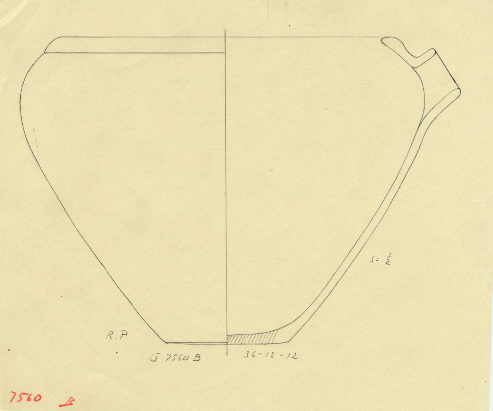 Drawings: G 7560, Shaft B, chamber: pottery, basin with spout