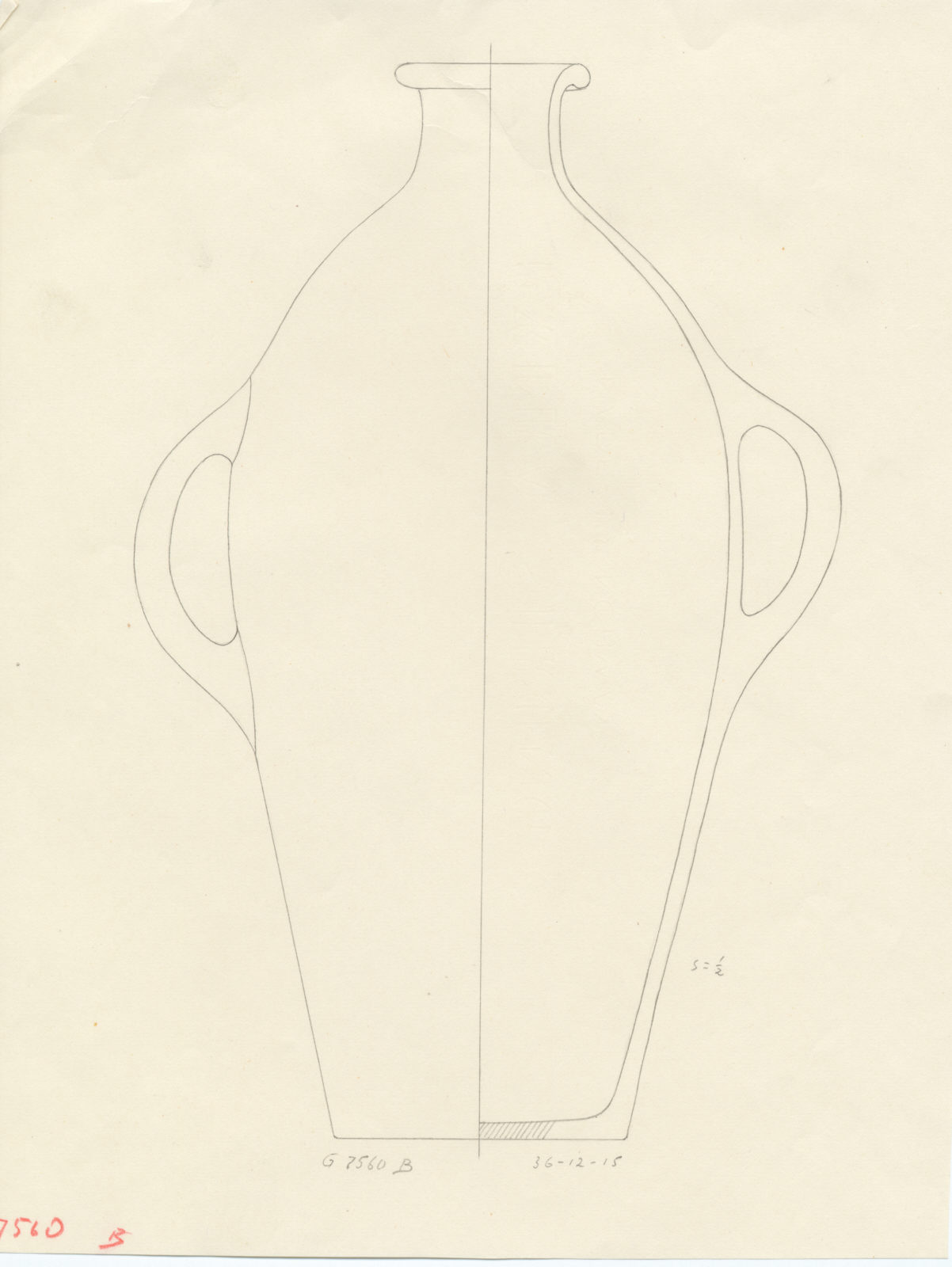 Drawings: G 7560, Shaft B, chamber: pottery, jar with two handles