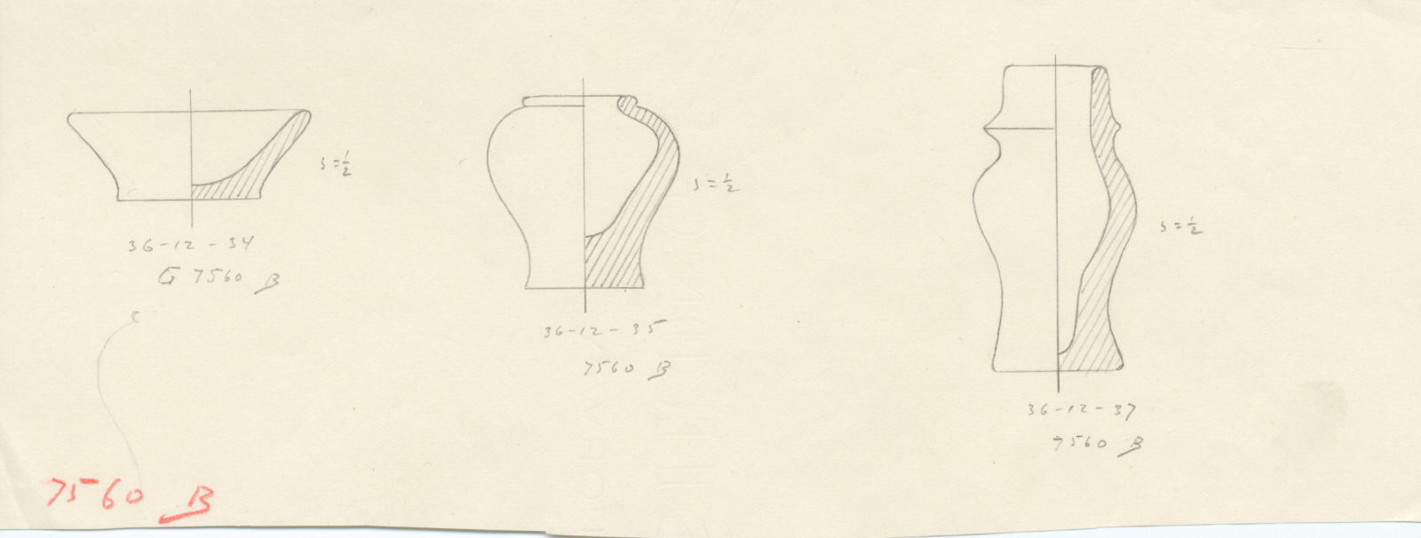 Drawings: G 7560, Shaft B, chamber: pottery, model objects