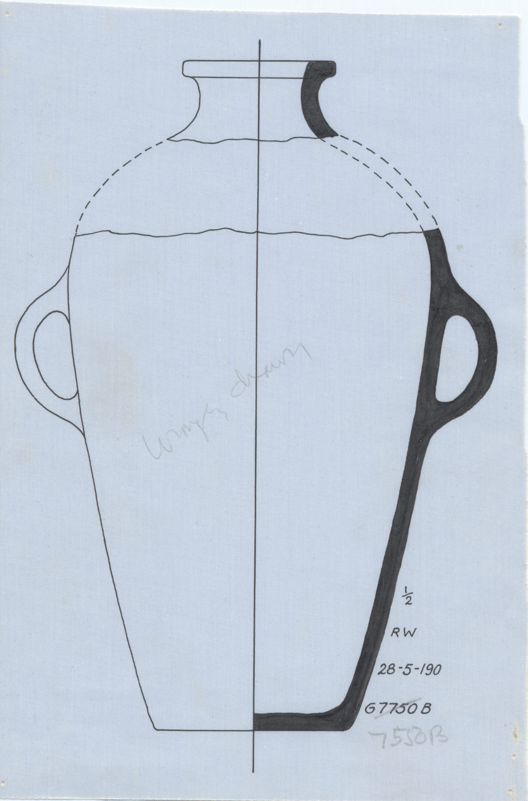 Drawings: G 7550, Shaft B: pottery, jar with two handles