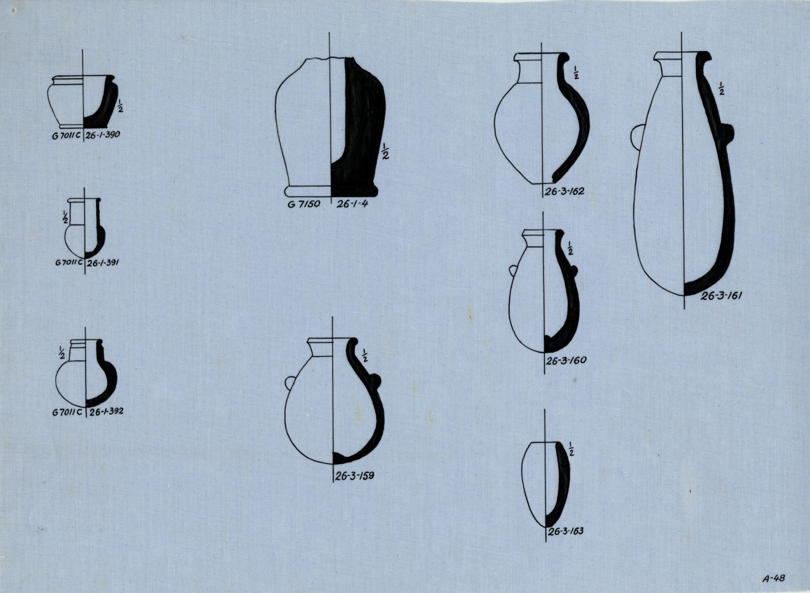 Drawings: Miniature vessels, stone (various) from G 7011, Shaft C, G 7141, G 7150