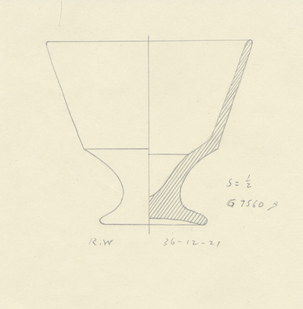 Drawings: G 7560, Shaft B: pottery, footed cup
