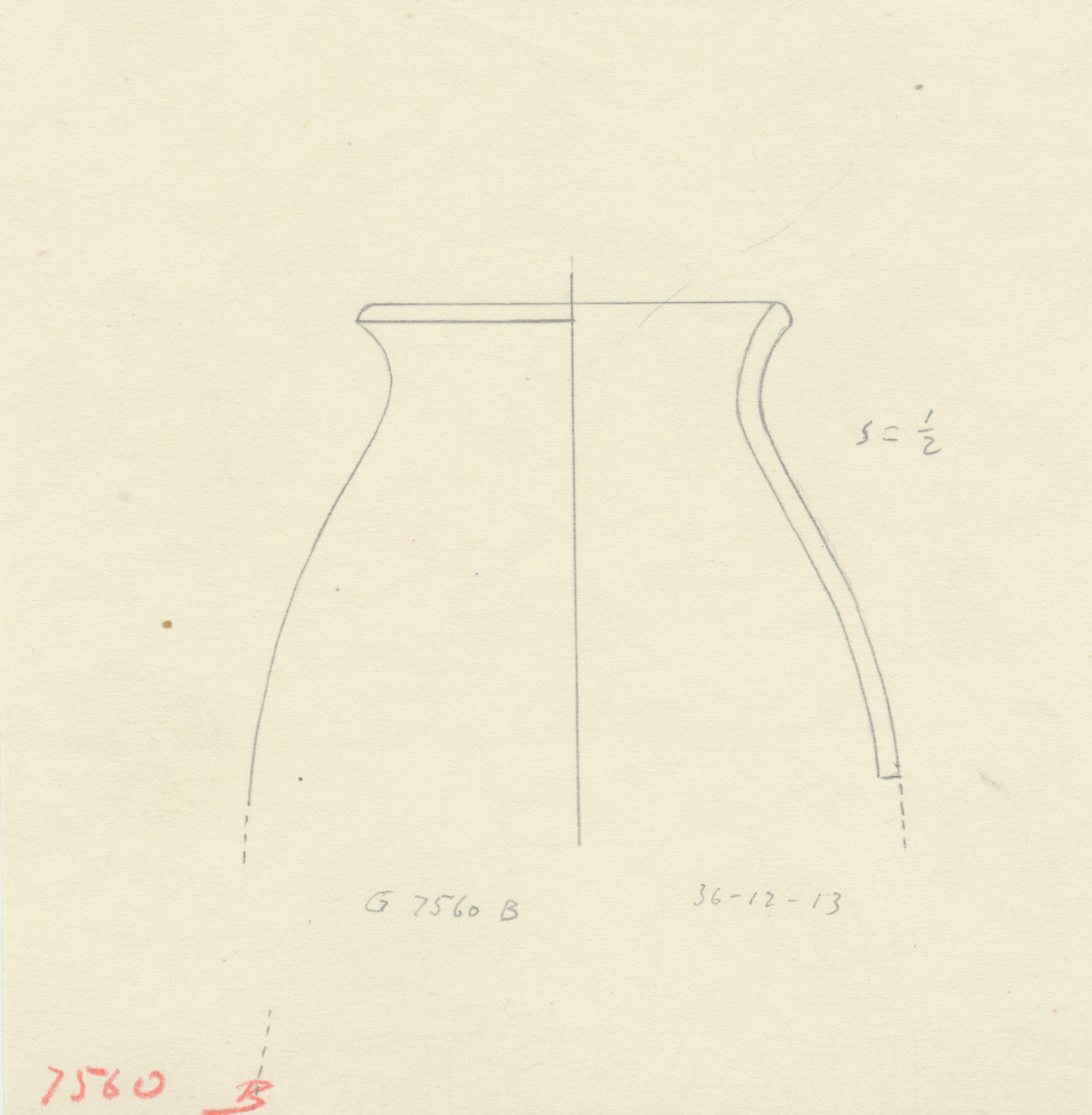 Drawings: G 7560, Shaft B: pottery, jar