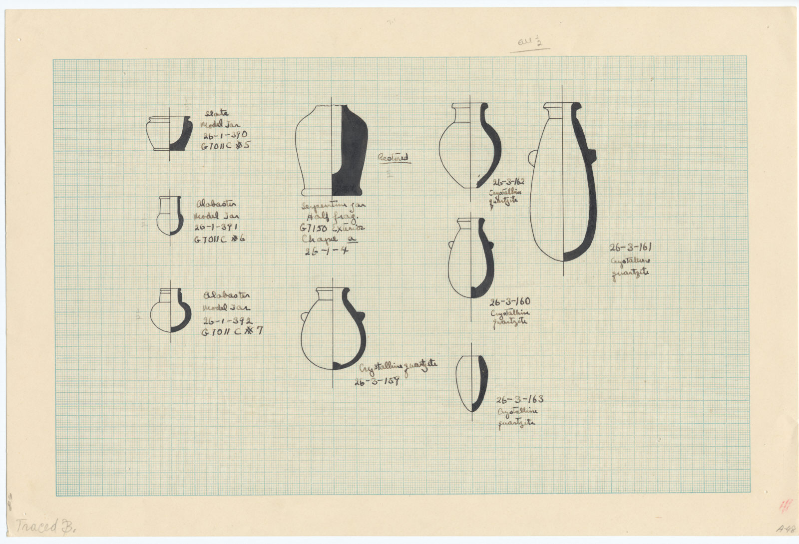 Drawings: Miniature vessels, stone (various), from G 7011, Shaft C, G 7141, G 7150