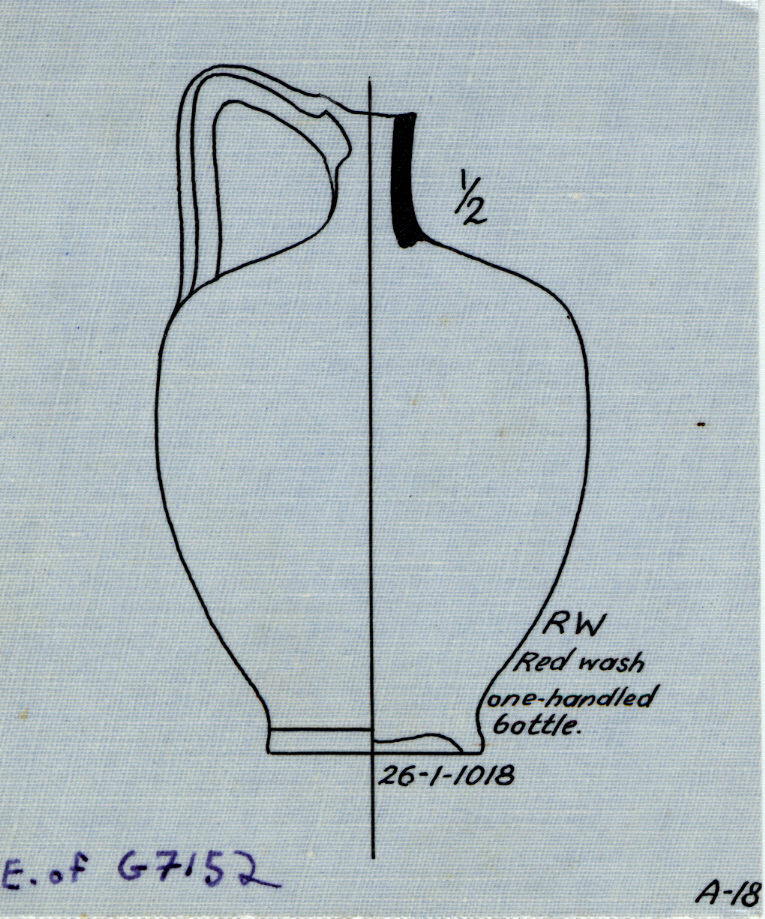 Drawings: G 7152: pottery, bottle  with handle from E of tomb