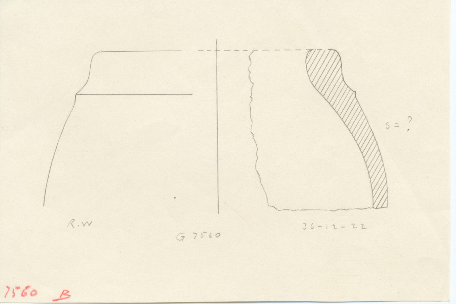 Drawings: G 7560, Shaft B: pottery, basin fragment
