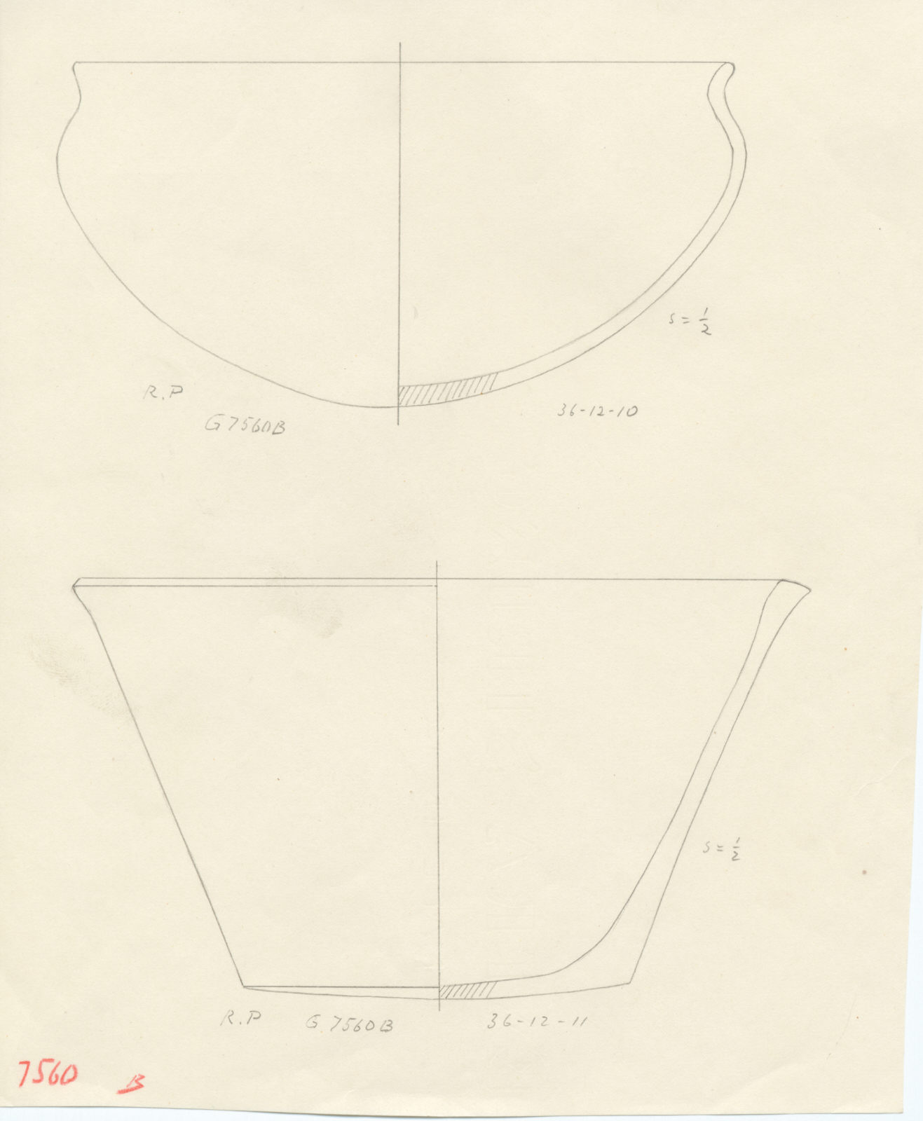 Drawings: G 7560, Shaft B: pottery, bowls