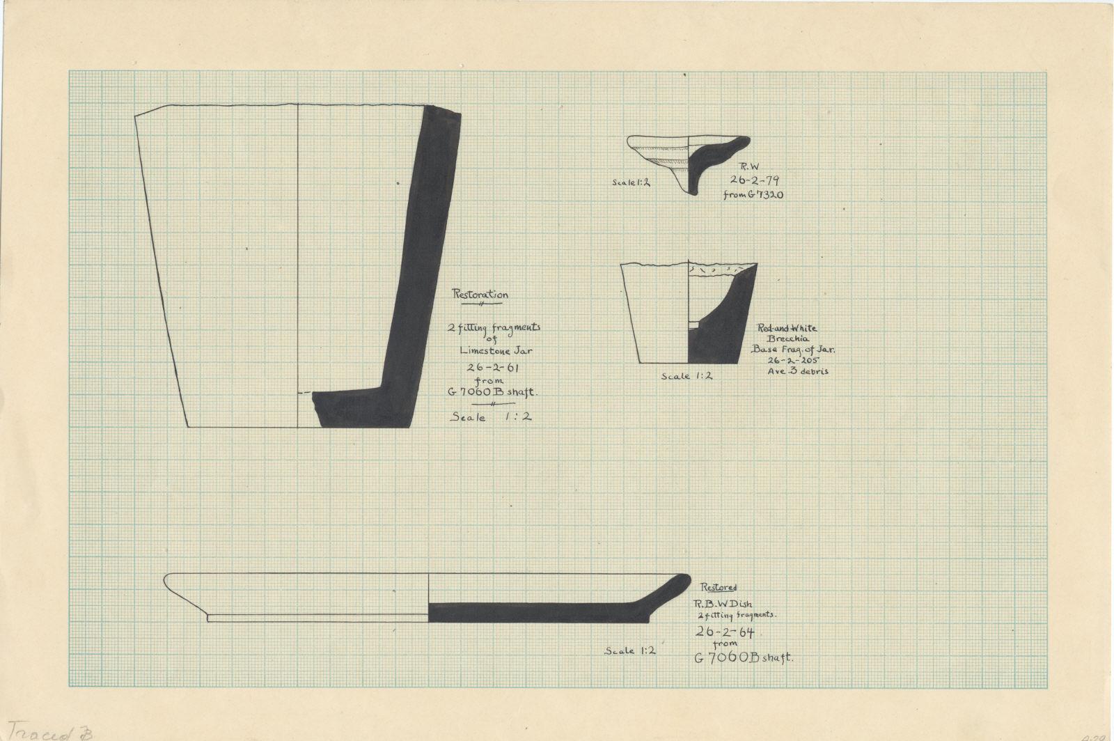 Drawings: Vessels from Avenue G 3; G 7060, Shaft B; G 7320; G 7060, Shaft B