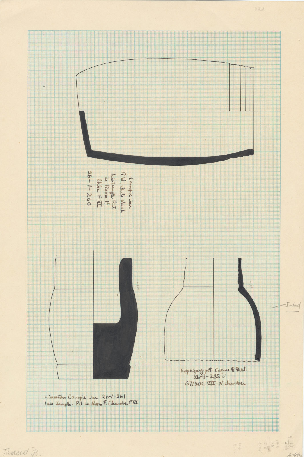 Drawings: Objects from G 7140, Shaft C and Isis Temple, Shaft in Room F