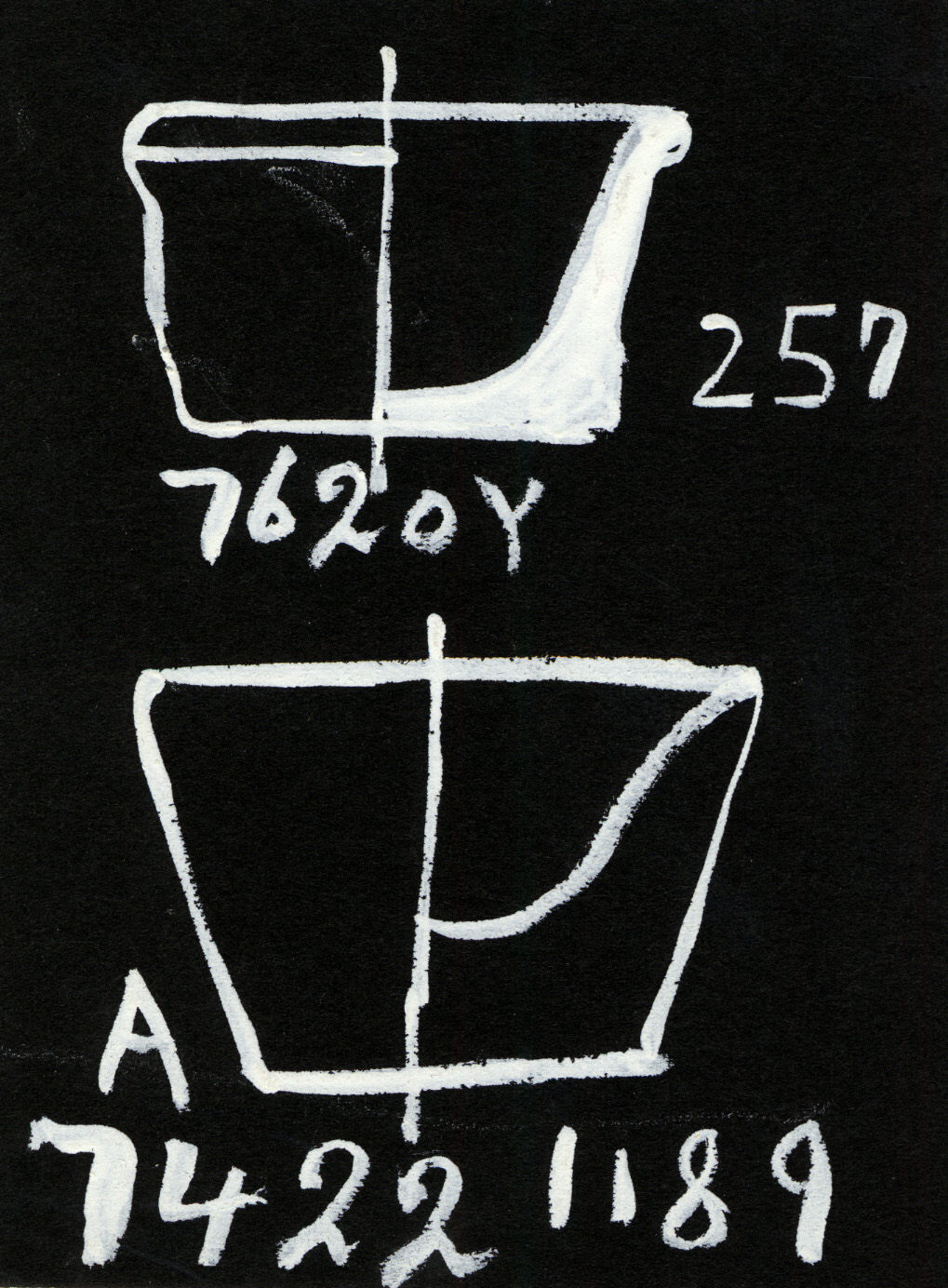 Drawings: Vessels, alabaster, from G 7422, Shaft A and G 7620, Shaft Y