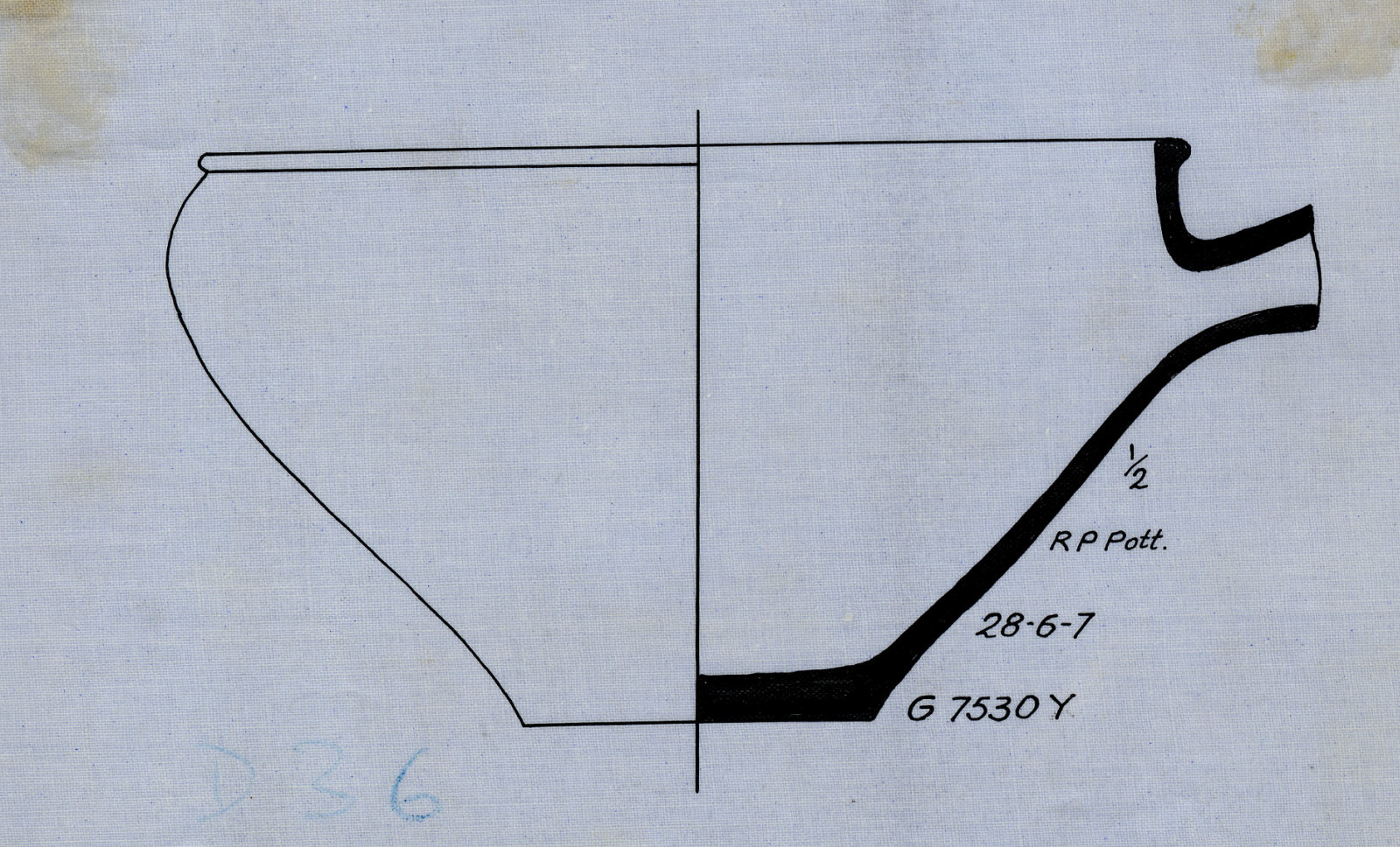 Drawings: G 7530, Shaft Y: pottery, basin with spout