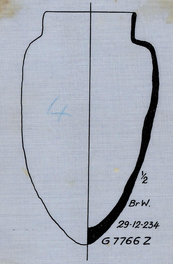 Drawings: G 7766, Shaft Z: pottery, offering jar