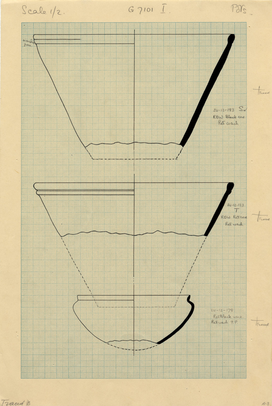 Drawings: G 7101, Shaft I, S, T: pottery, bowls