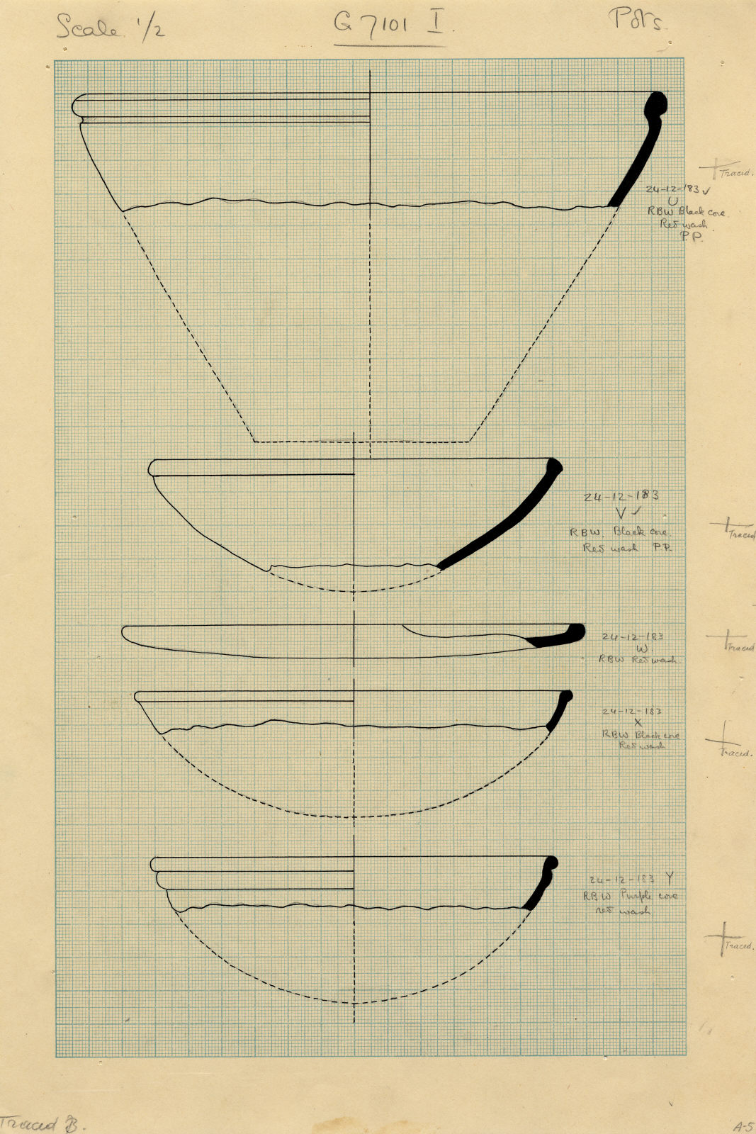 Drawings: G 7101, Shaft I and, U to Y: pottery, bowls
