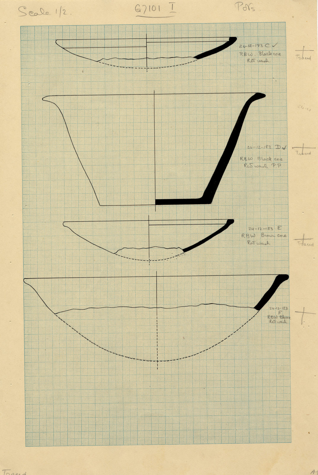 Drawings: G 7101, Shaft C to F and I: pottery, bowls