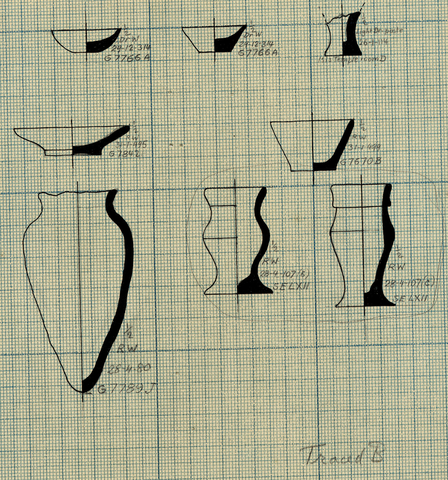 Drawings: Pottery from G 7000 SE 62; G 7670, Shaft B; G 7766, Shaft A;  G 7842; G 7789, Shaft  J; Isis Temple, Room D