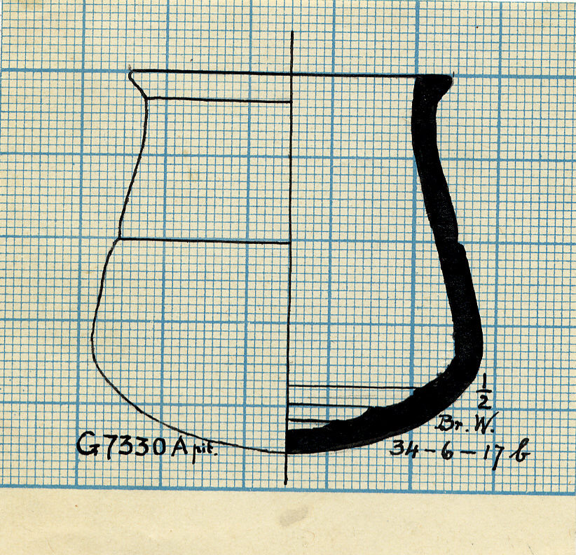 Drawings: G 7330, Shaft A: pottery, bag-shaped jar