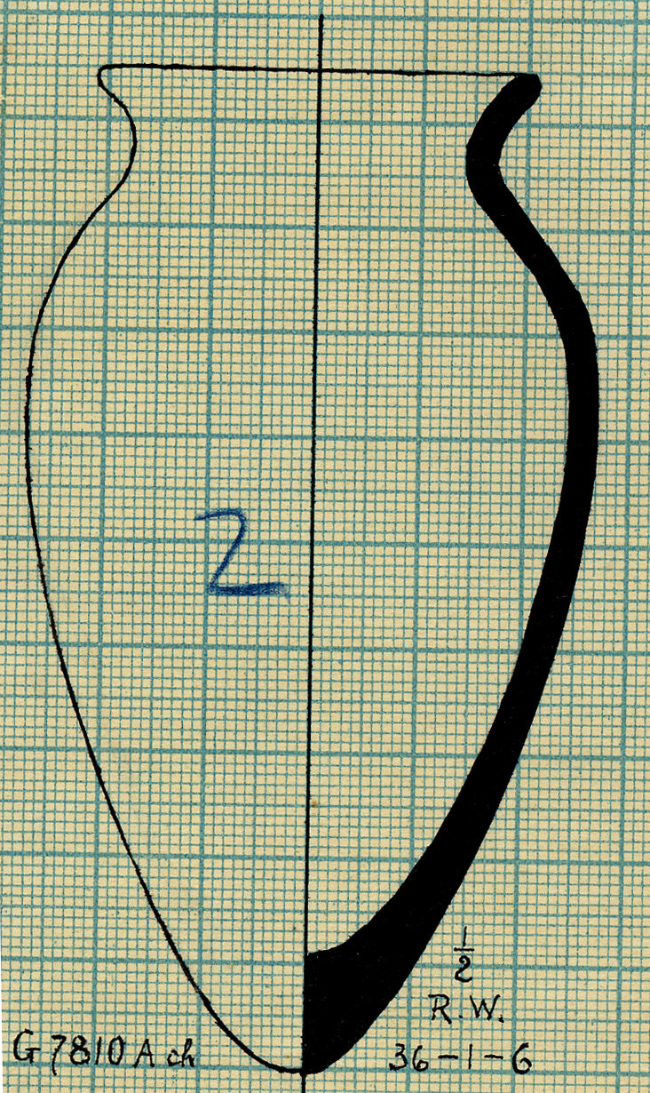 Drawings: G 7810, Shaft A, chamber: pottery, jar