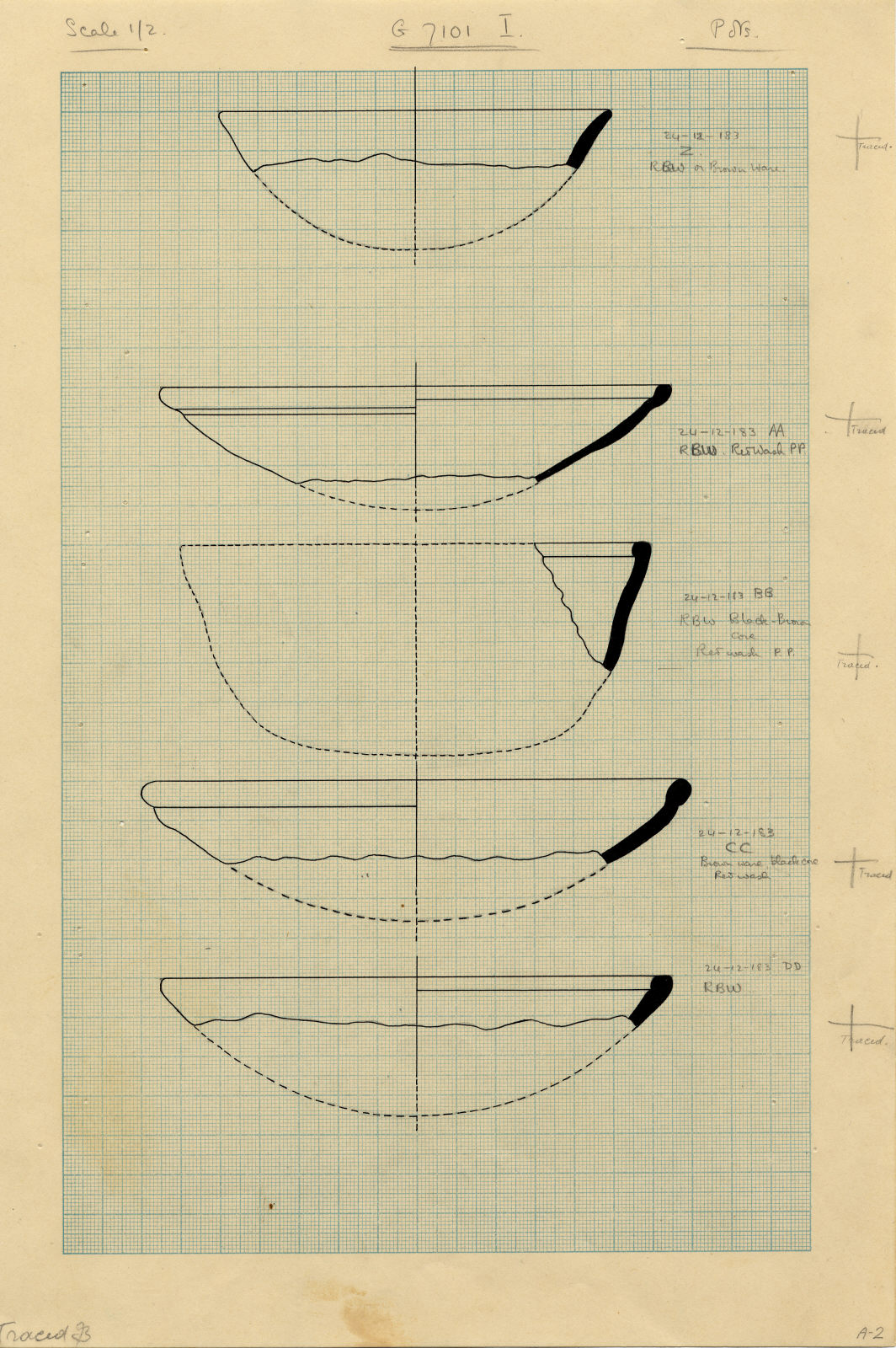 Drawings: 7101, Shaft I: pottery, bowls