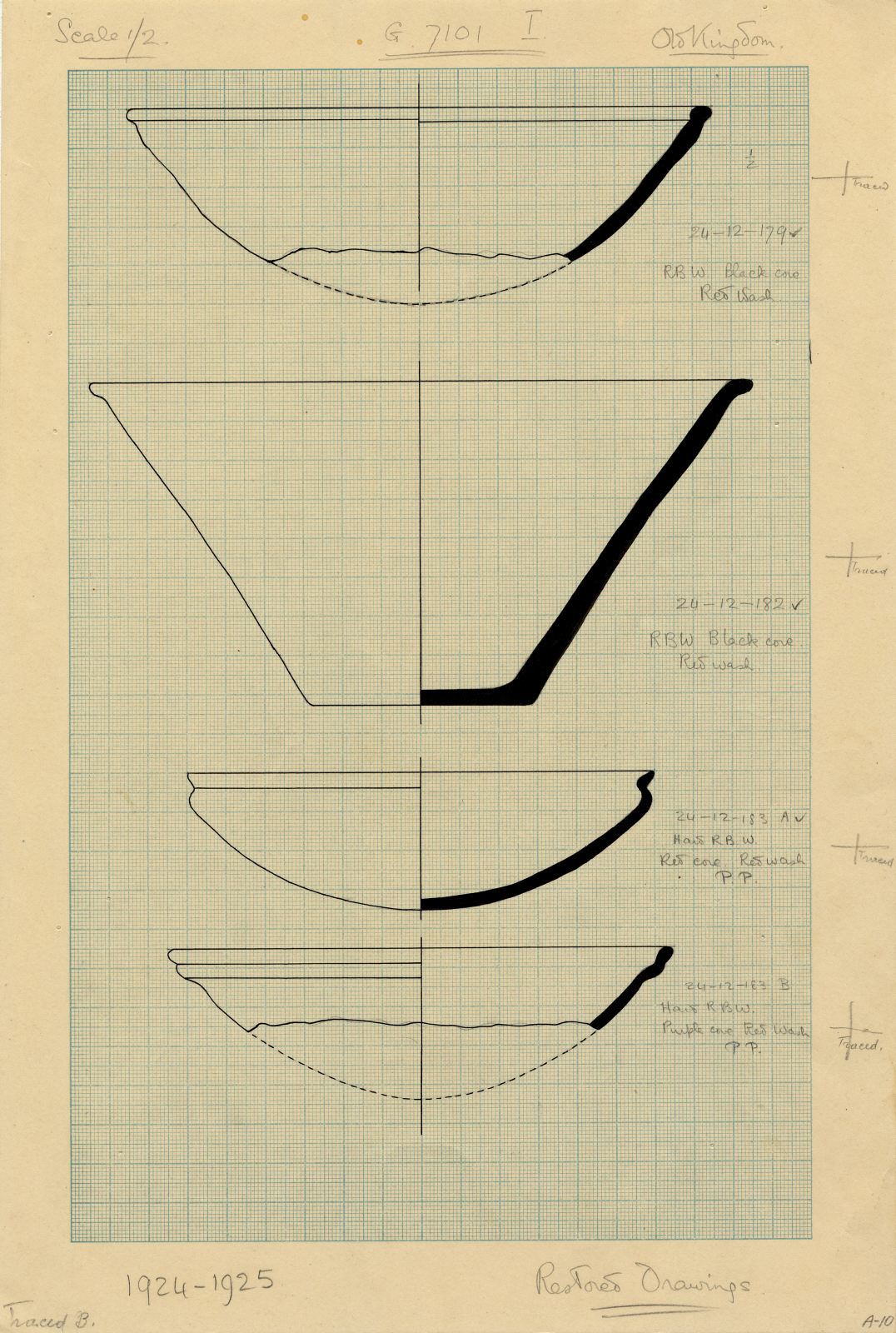 Drawings: G 7101, Shaft I: pottery, bowls