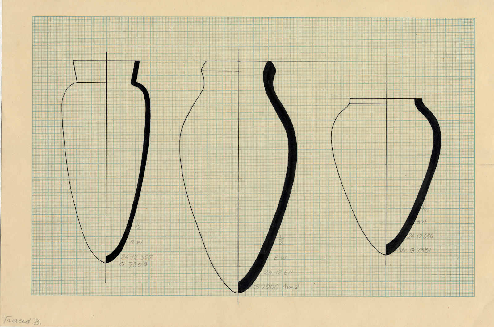 Drawings: Pottery, jars from Street G 7200 and Avenue G 2