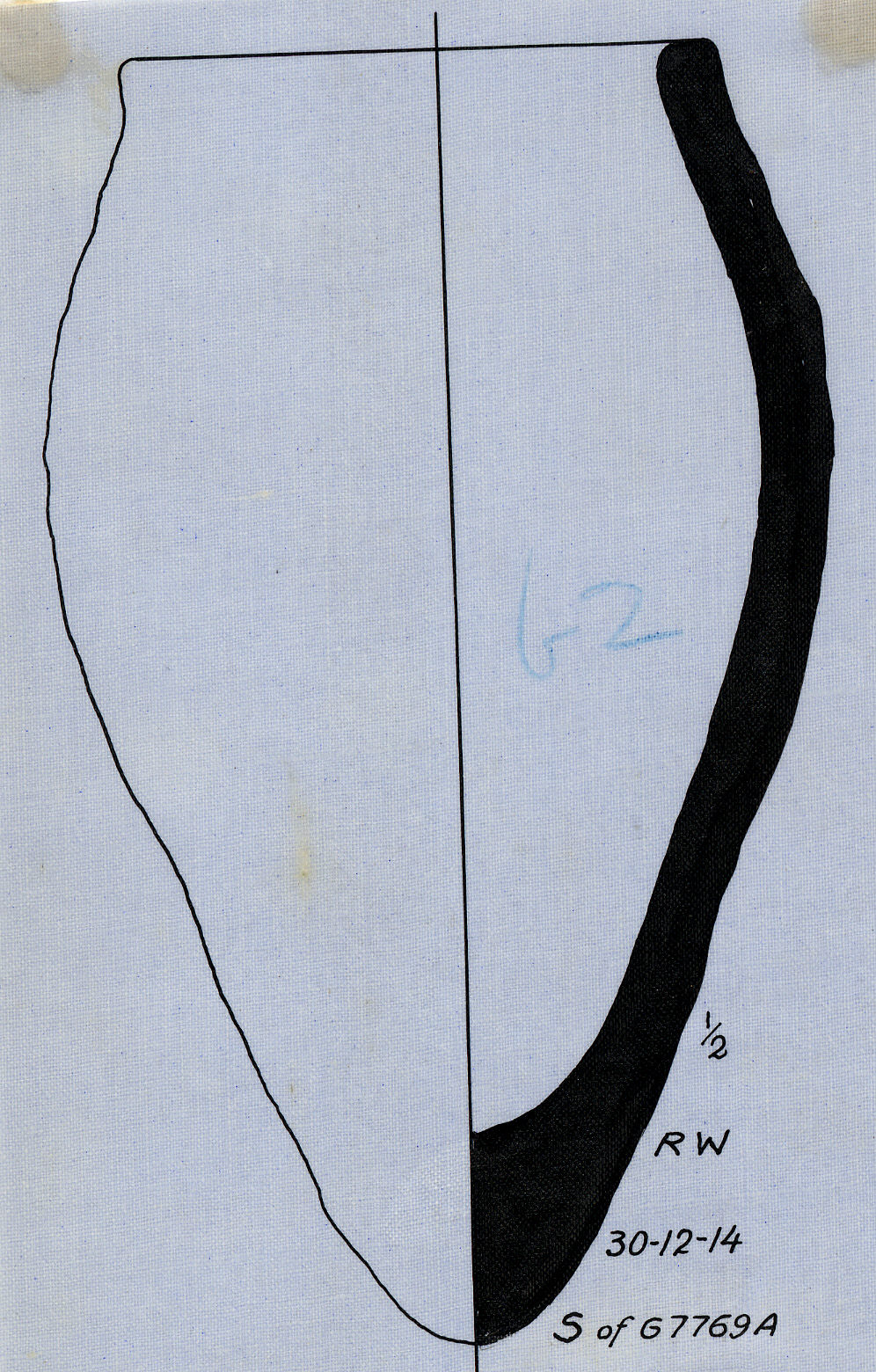 Drawings: G 7769, Shaft A: pottery, offering jar from SW of tomb