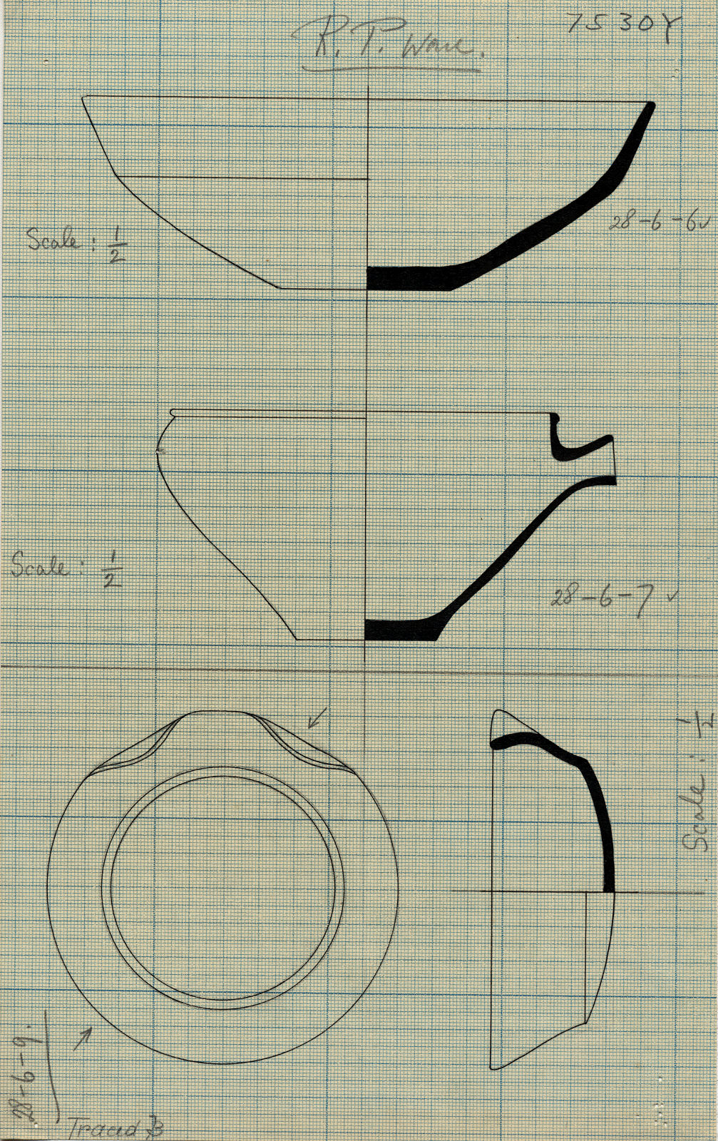 Drawings: G 7530, Shaft Y: pottery