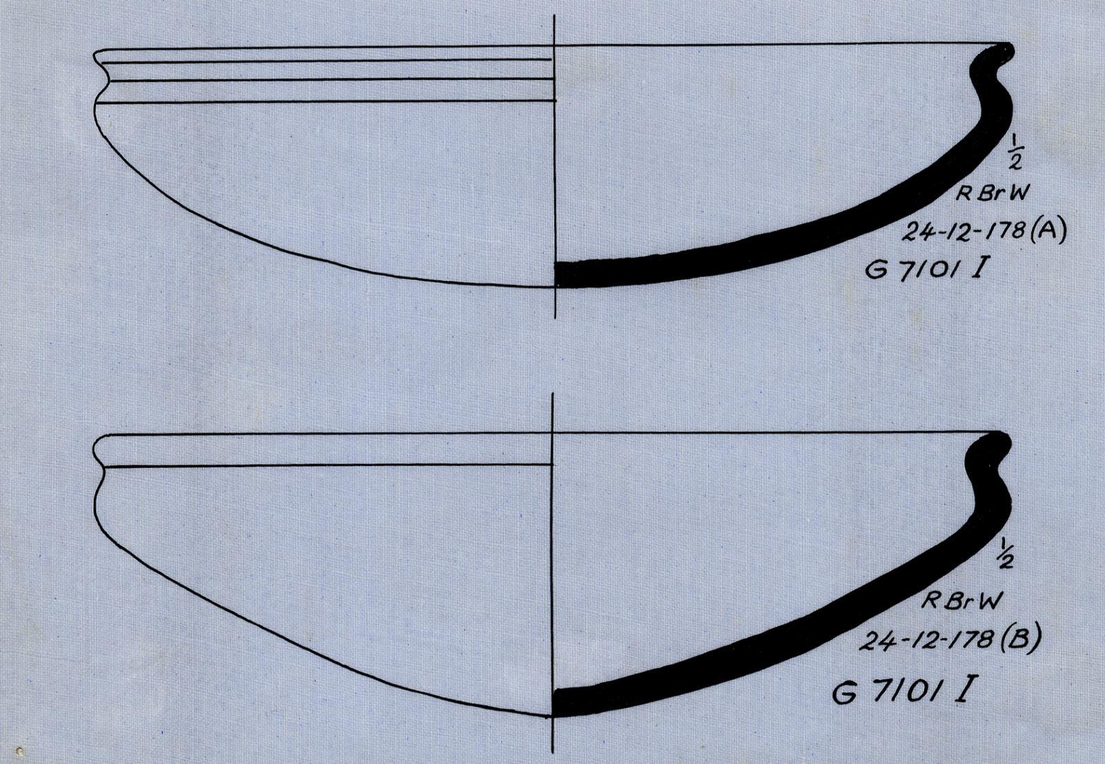 Drawings: G 7101, Shaft I: pottery, bowls