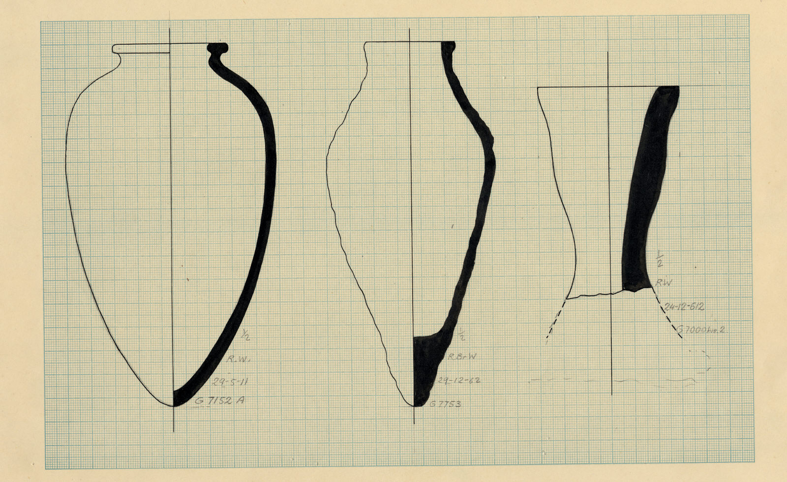 Drawings: Pottery from Avenue G 2, between G 7120 and G 7130; G 7152, Shaft A; G 7753