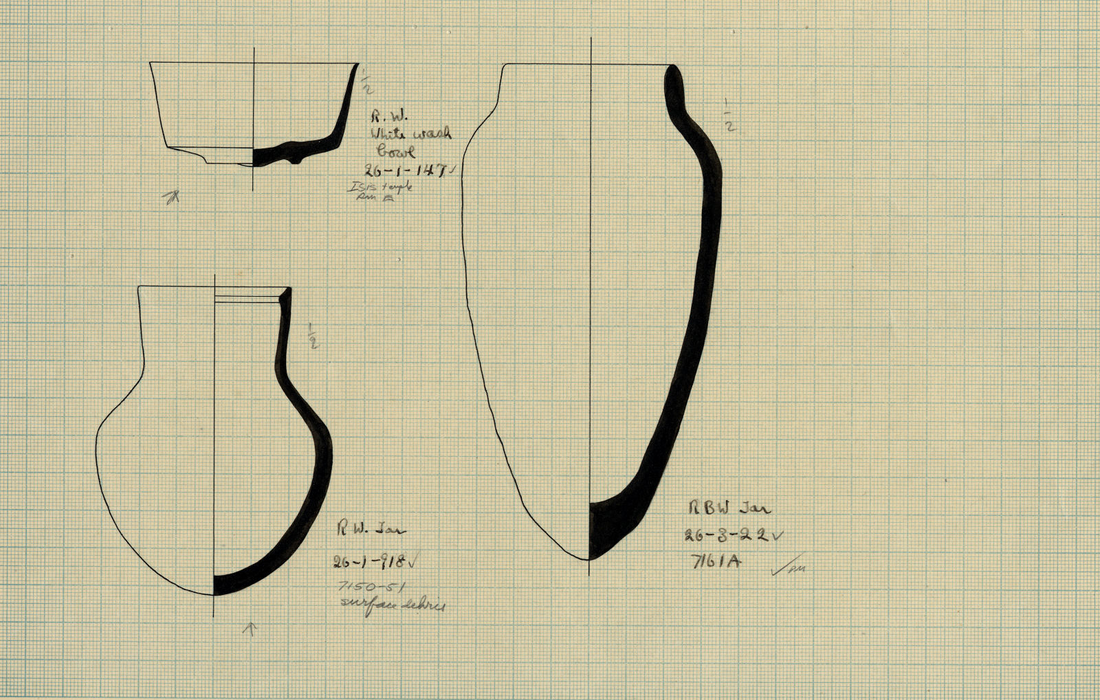 Drawings: Pottery from G 7161, Shaft A; Isis Temple, Room E; between G 7150 and G 7151