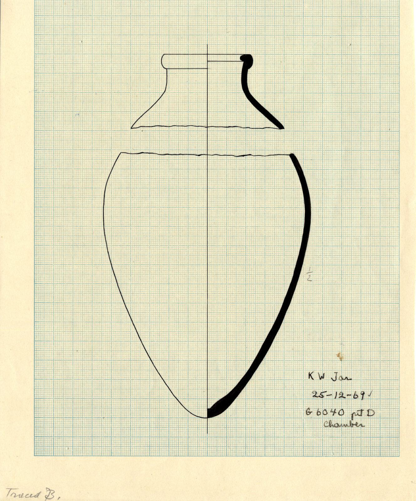 Drawings: G 6040, Shaft D, chamber: pottery, jar