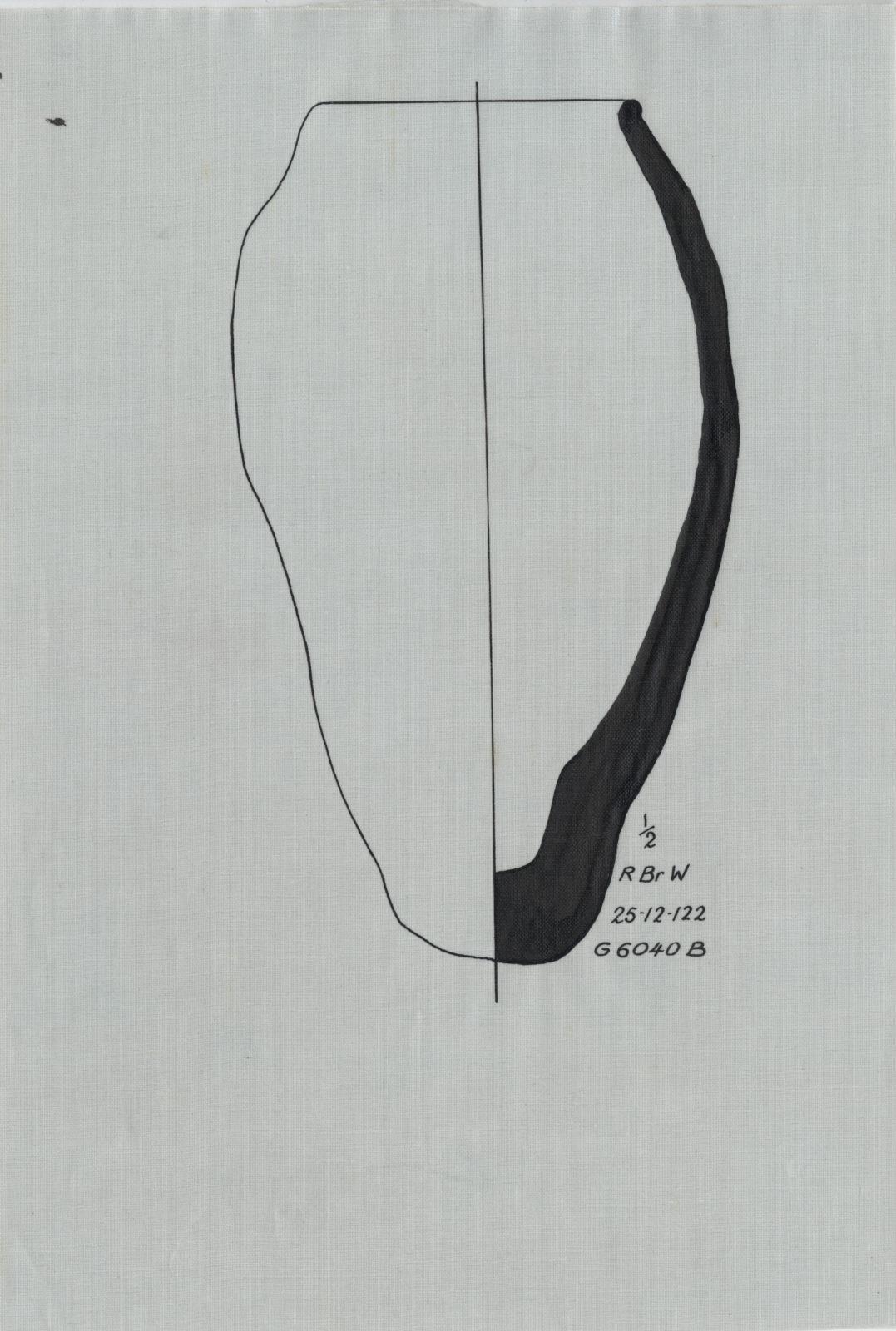 Drawings: G 6040, Shaft B: pottery, offering jar