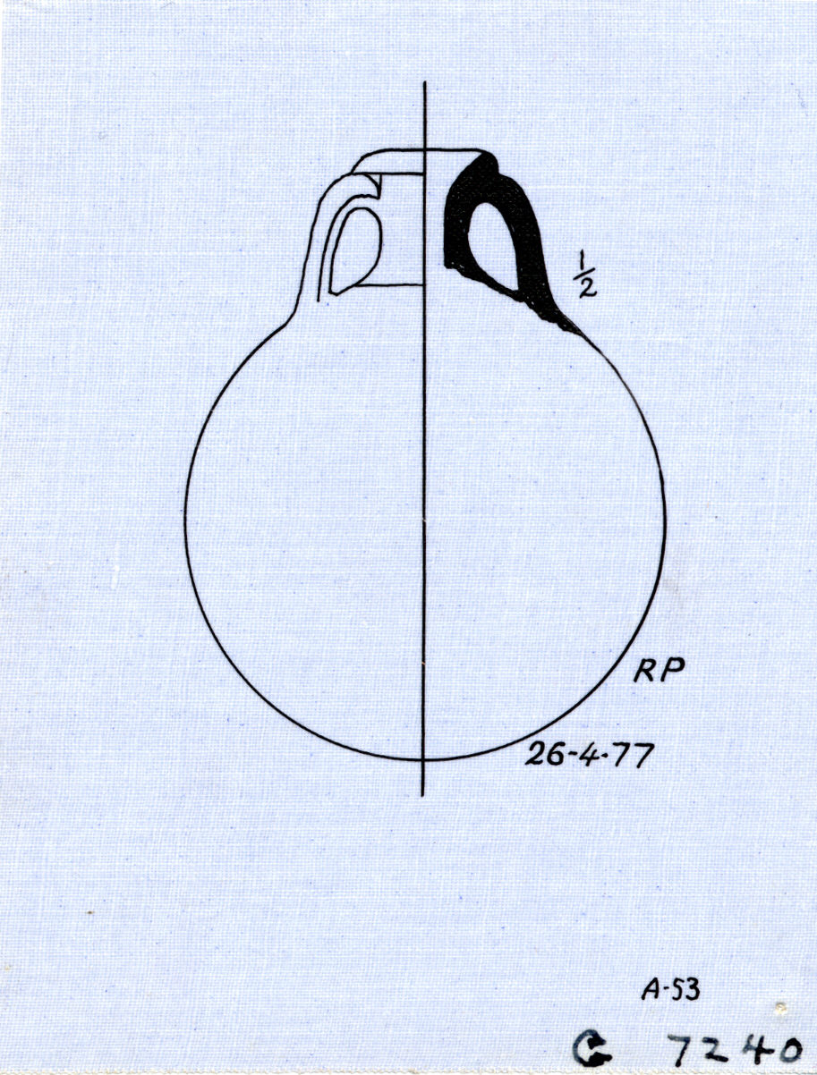 Drawings: G 7240: pottery, pilgrim flask