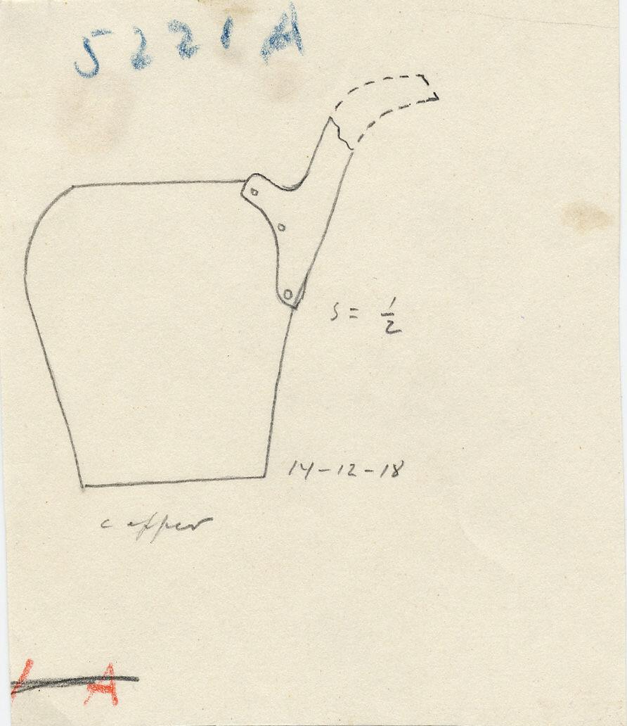 Drawings: G 5221, Shaft A: model ewer, copper