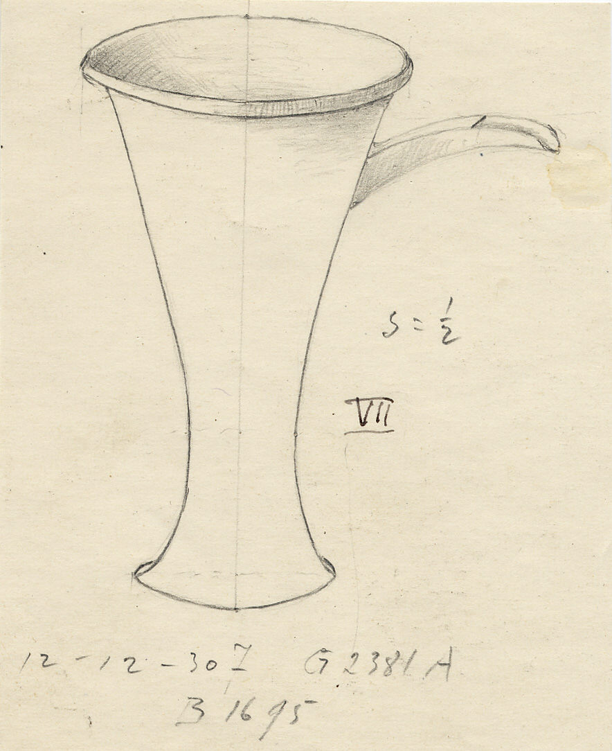 Drawings: G 2381, Shaft A: jar with spout, copper