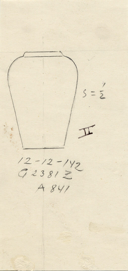 Drawings: G 2381, Shaft Z: model collared shouldered jar, copper