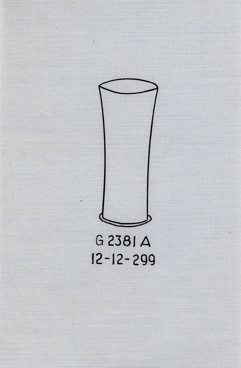 Drawings: G 2381, Shaft A: cylindrical cup, copper