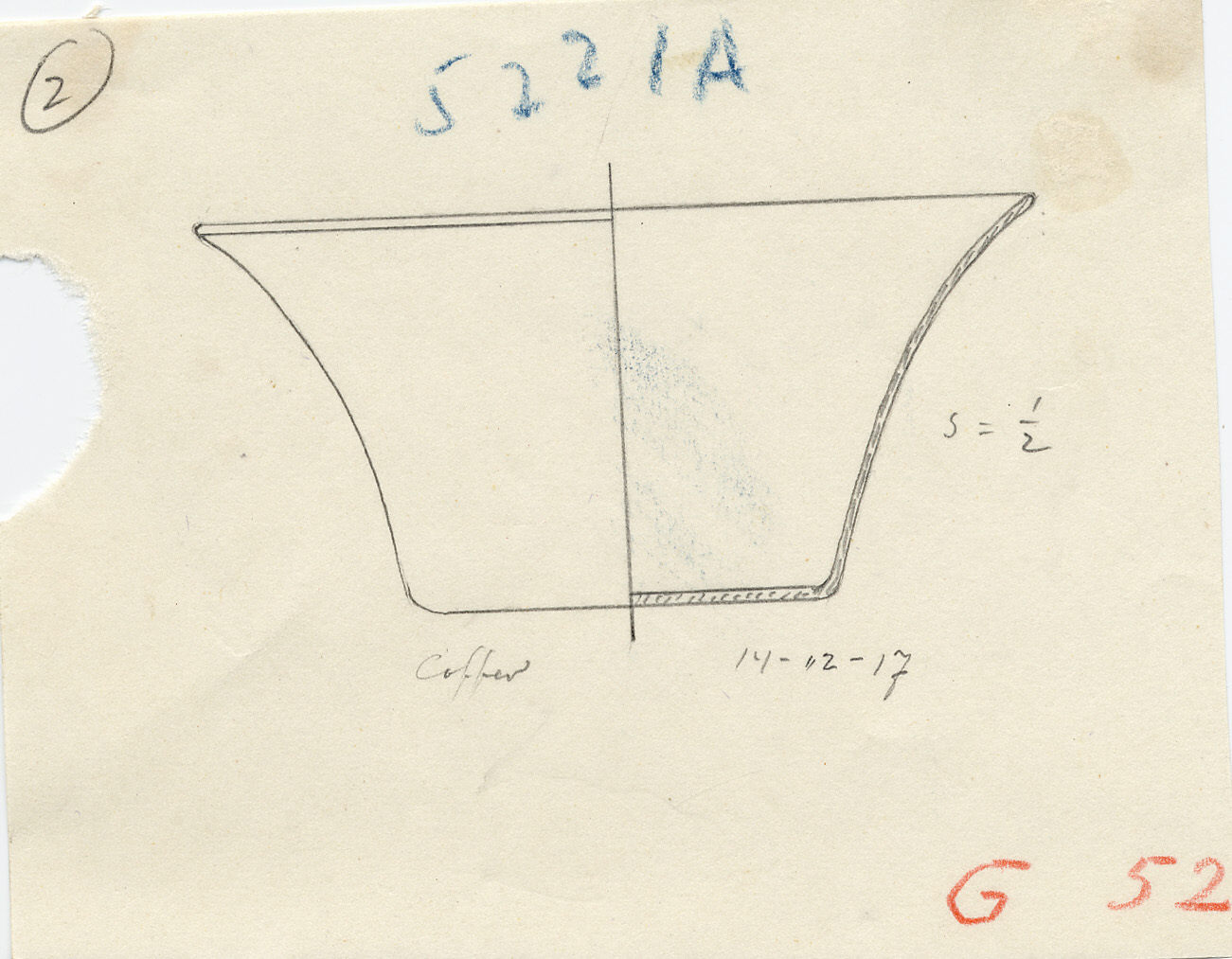 Drawings: G 5221, Shaft A, chamber: basin with flaring sides, copper
