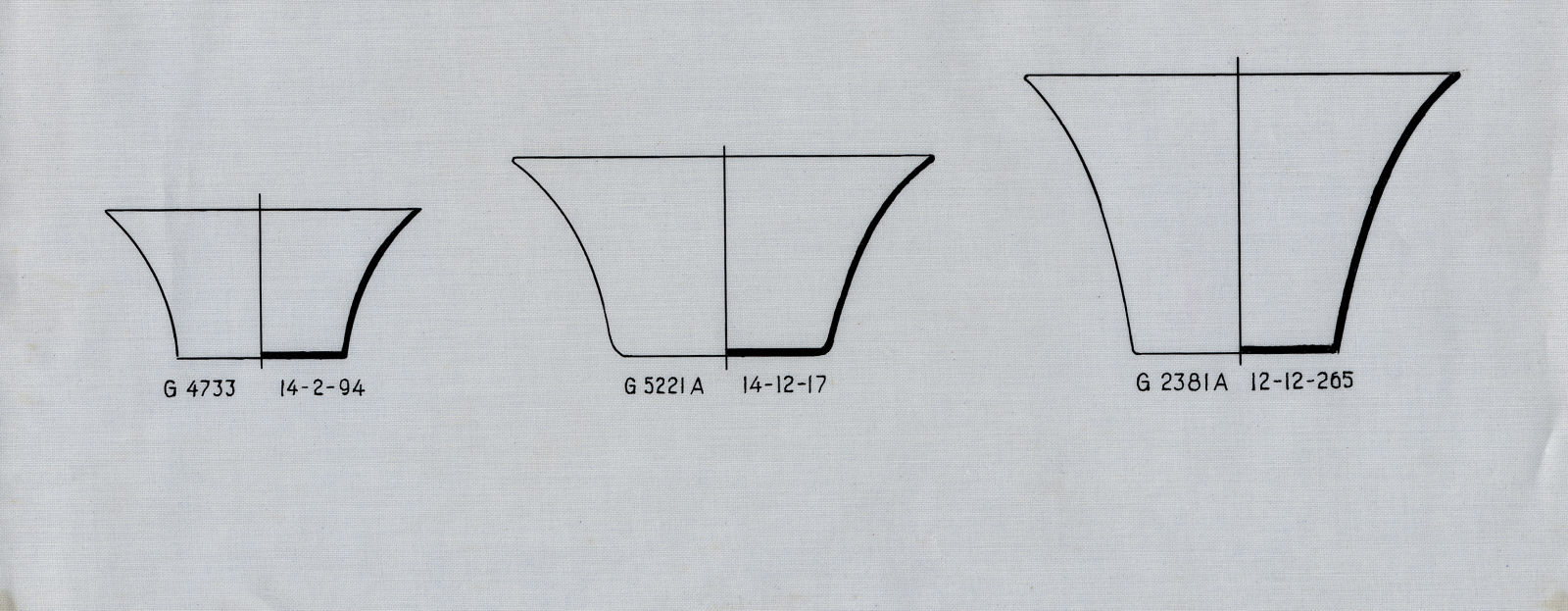 Drawings: Objects, copper, from G 2381, Shaft A; G 4733, Shaft E; G 5221, Shaft A
