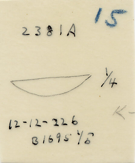 Drawings: G 2381, Shaft A: bowl, copper