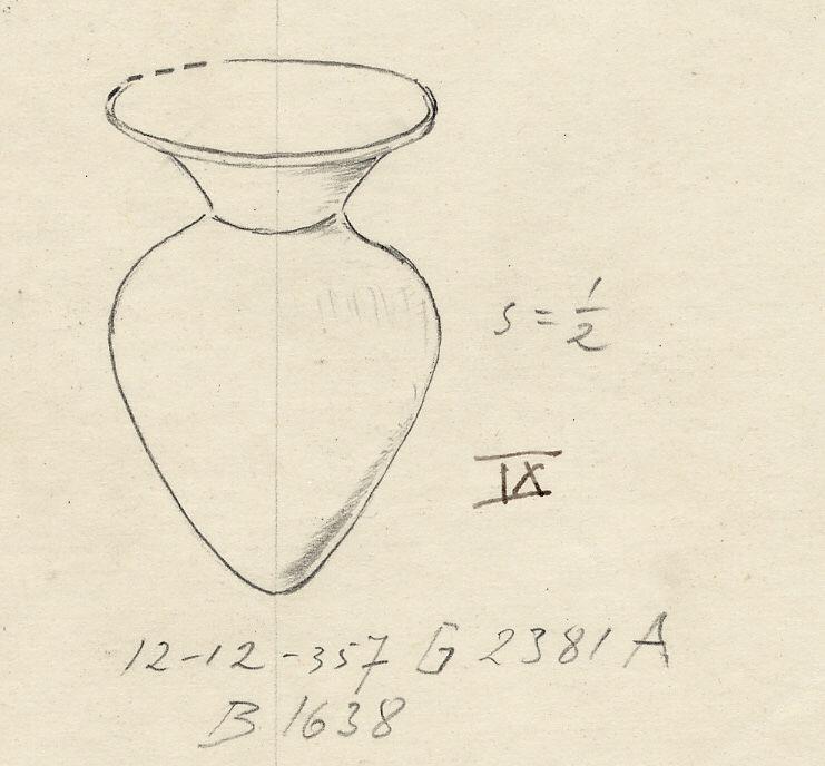 Drawings: G 2381, Shaft A: model bottle, copper
