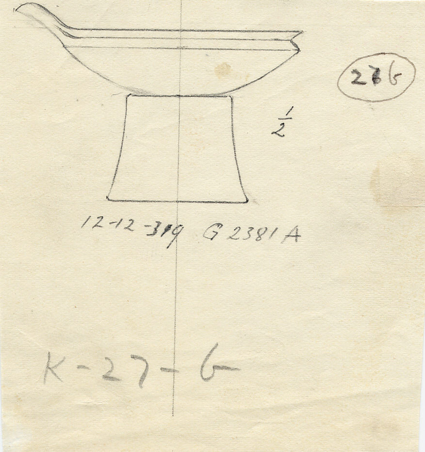 Drawings: G 2381, Shaft A: model footed bowl, copper