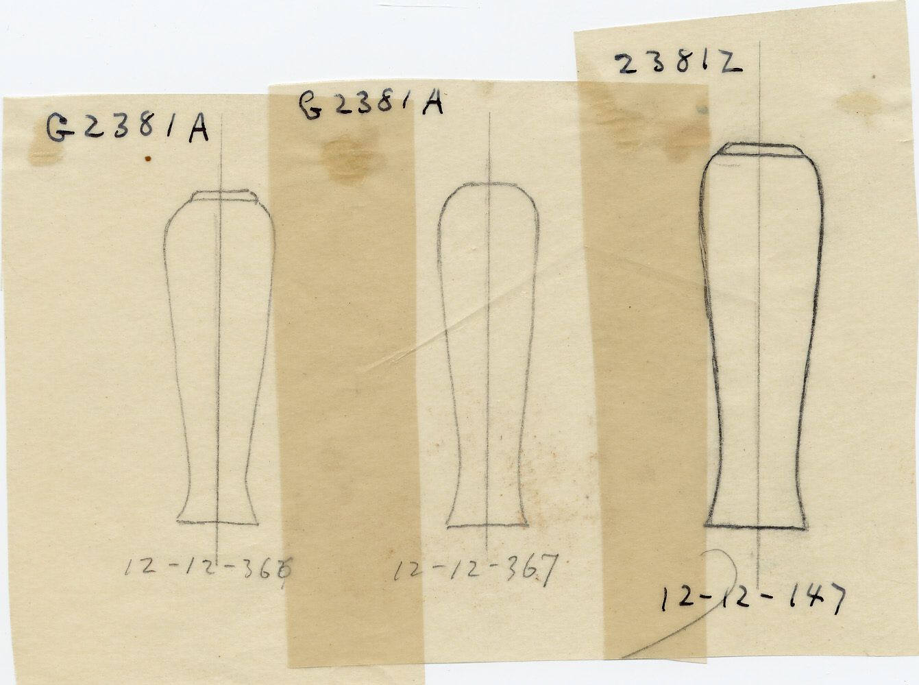 Drawings: G 2381: model jars, copper