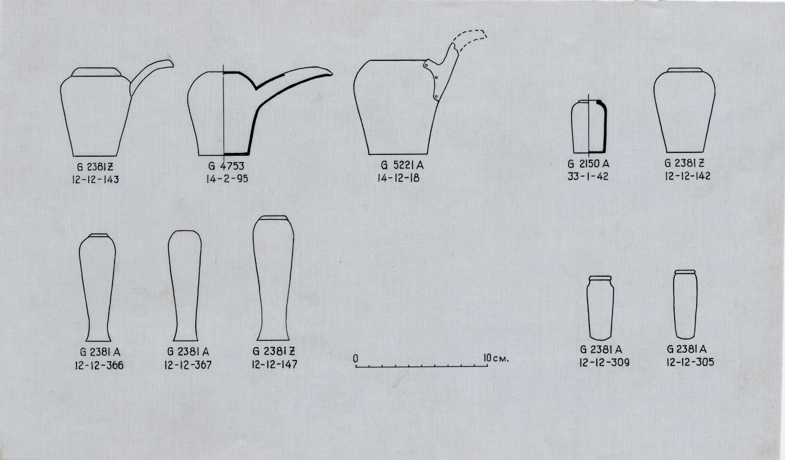 Drawings: Objects, copper, from G 4733 (mislabeled G 4753); G 2381, Shaft Z; G 5221, Shaft A